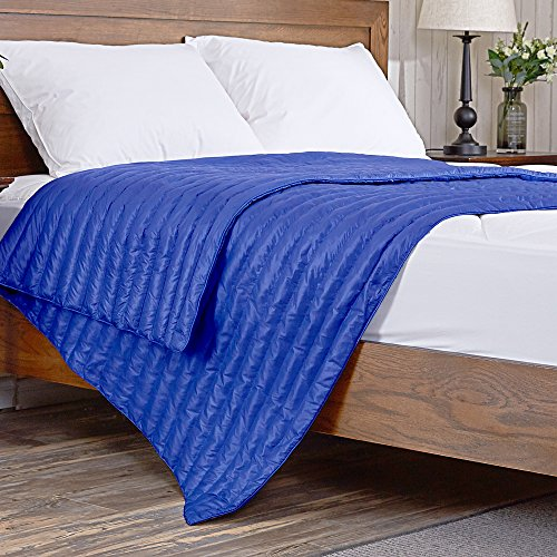 puredown Nylon White Goose Down Indoor/Outdoor Camping Blanket Blue