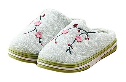 Sichouzhilu Pantuflas Calientes Zapatillas de Estar por casa Interior Soft Bottom Casa Casa Otoño Invierno Memoria
