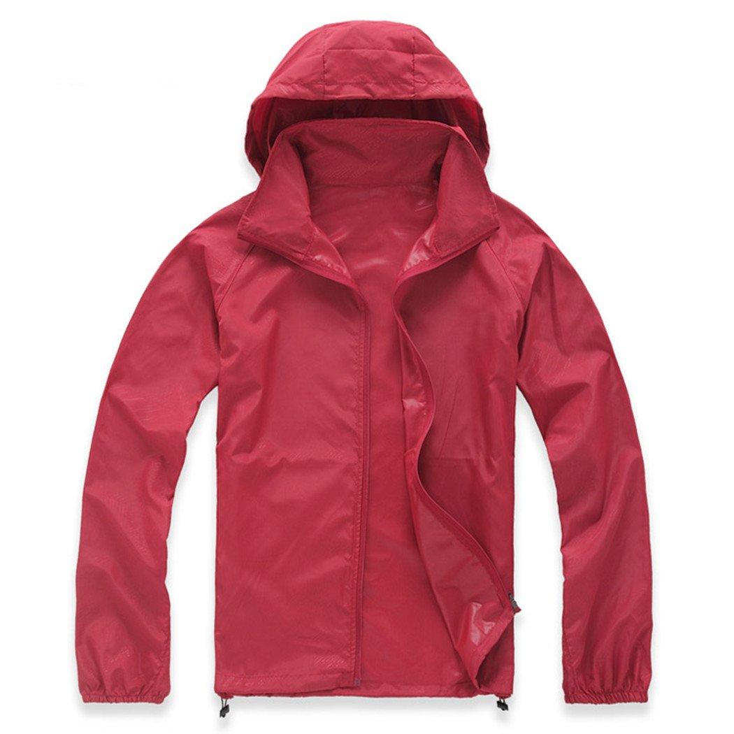 Lanbaosi Women's Super Lightweight UV Protect+Quick Dry Waterproof Skin Jacket Dark red Size XXXL