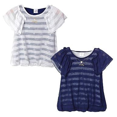 62b49160b75d3 (ネイビー 160cm)子供服 女の子 Tシャツ 半袖 Silver Sue 重ね着風