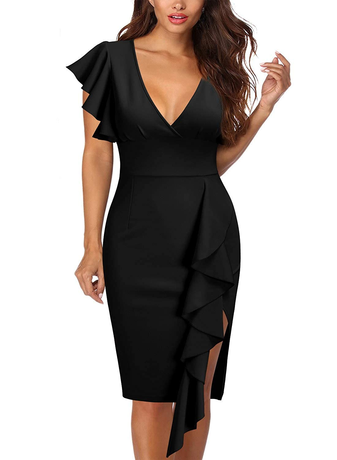 eefdb11b9ad Knitee Women's Deep-V Neck Ruffle Sleeves Cocktail Party Pencil Slit Dress  at Amazon Women's Clothing store: