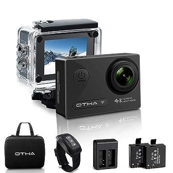 OTHA Cámara Deportiva 4K, Cámara de Acción Deportivas Impermeable 1080P 60FPS con Sensor Sony de