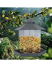 مغذيات الطيور البرية من بورد، مغذيات للطيور للتعليق في الهواء الطلق، بذور للطيور للمغذيات الخارجية، معلّقة على شكل سداسي مع سقف معلّق لتزيين ساحة الحديقة (رمادي)