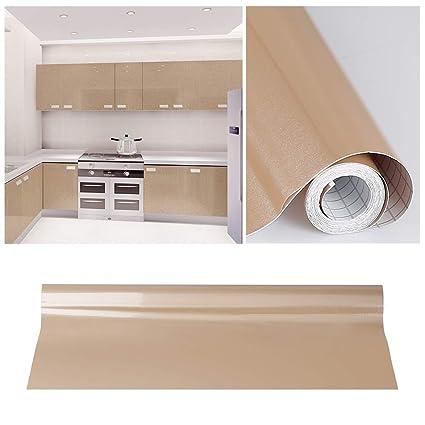 KINLO Adesivi Carta per mobili 0.6M x 5M PVC Impermeabile Adesivi mobili  rinnovato mobili da Cucina Marrone