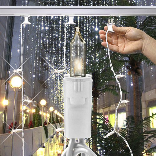 Gki Bethlehem Lighting Curtain - (35) Bulbs - Clear Mini Christmas Lights - Length 17 ft. - Bulb Spacing 6 in. White Wire - 120V Professional Christmas Light Curtain Strand