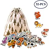 ShenVenga Animal Magnets Refrigerator Education - 32 Fridge Magnetic Animal Early Learning for Toddlers with Clear Big Name Beside