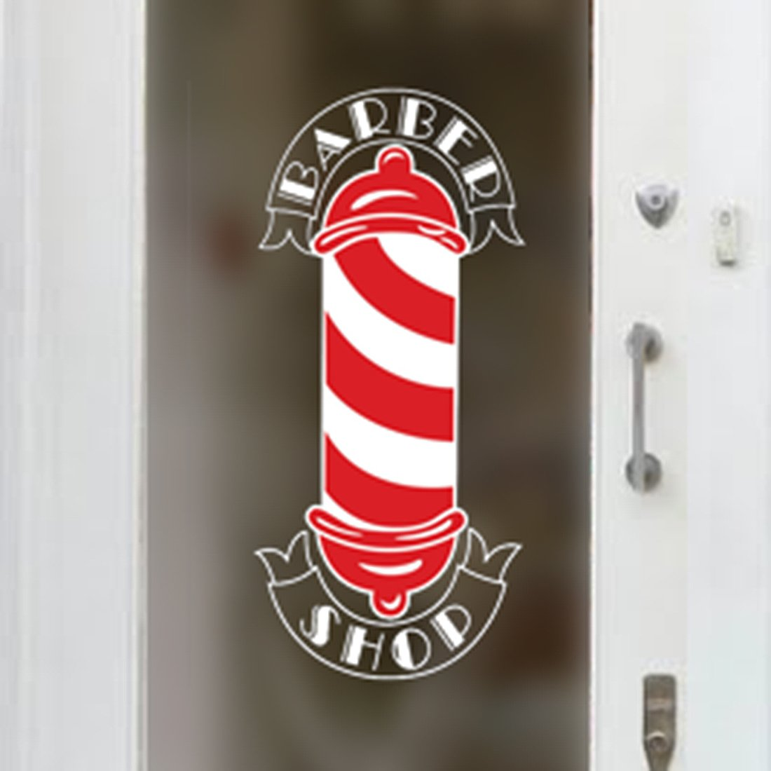 Barbers Pole Shop Vinyl Sign Hairdressers Hair Salon Window Lettering Sticker Wall4stickers EXPSFD010411