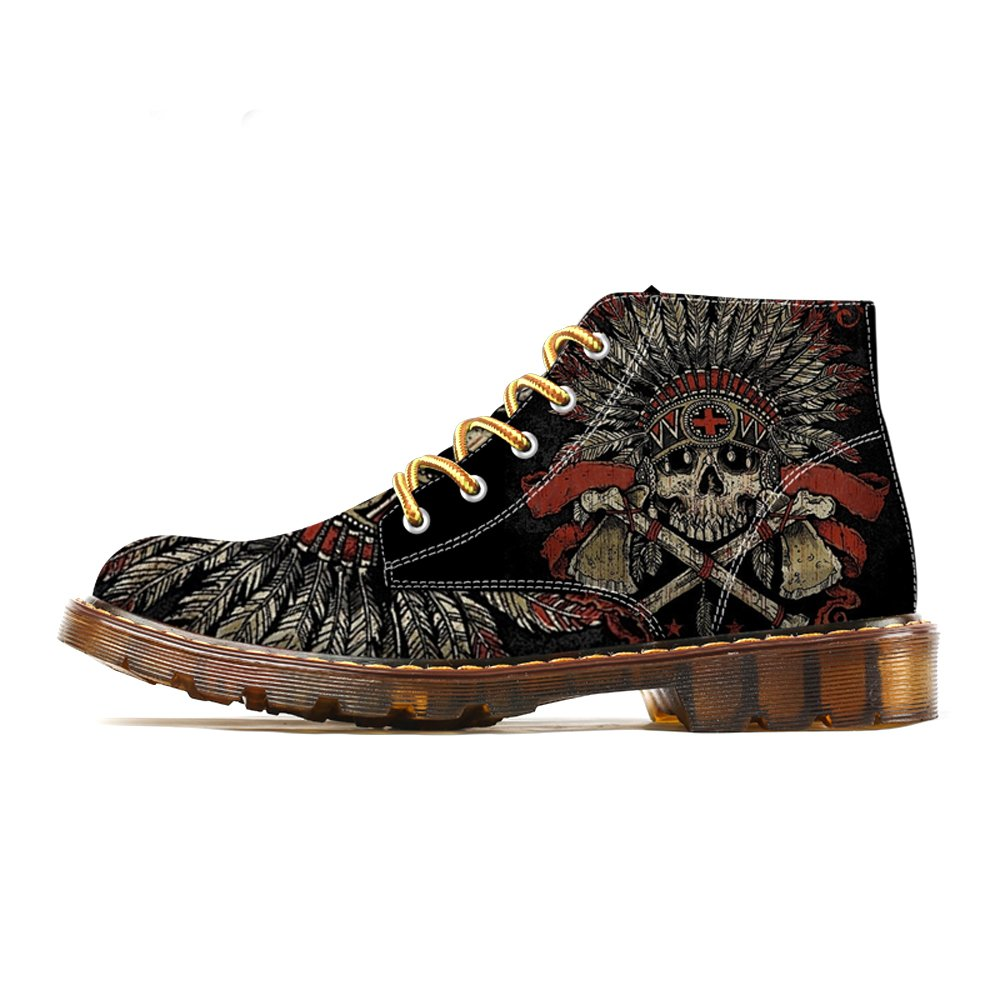 FIRST DANCE 2018 Spring Fashion Mens Indian Skull Boots Martin Shoes for Men Skeleton Print Black Warm Ankle Shoes Man Oxfords Boots 8.5US