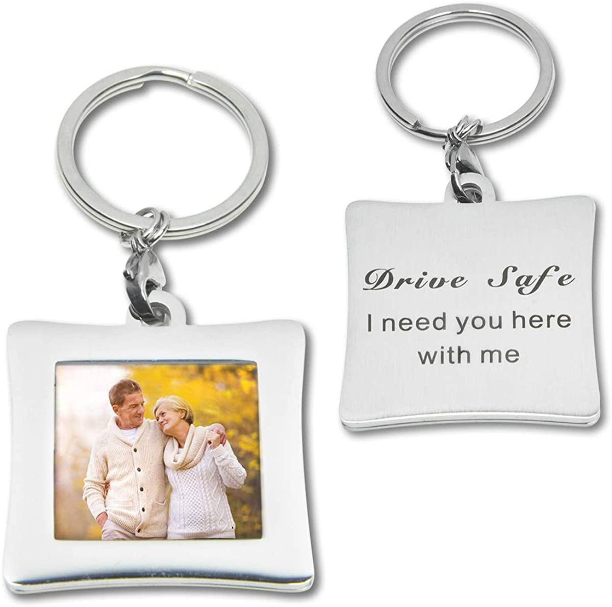 Photo Keychain Picture Frames Keyring Gift for Husband Dad Boyfriend Grandpa Father's day Birthday Gift (Silver drive safe)