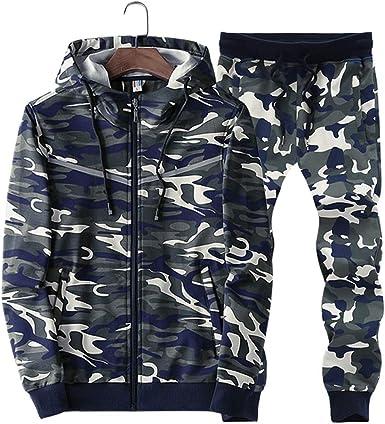 Sun Lorence Mens Winter Fur Lined Camo Hoodie Sweatshirt with Pants Sport Tracksuit