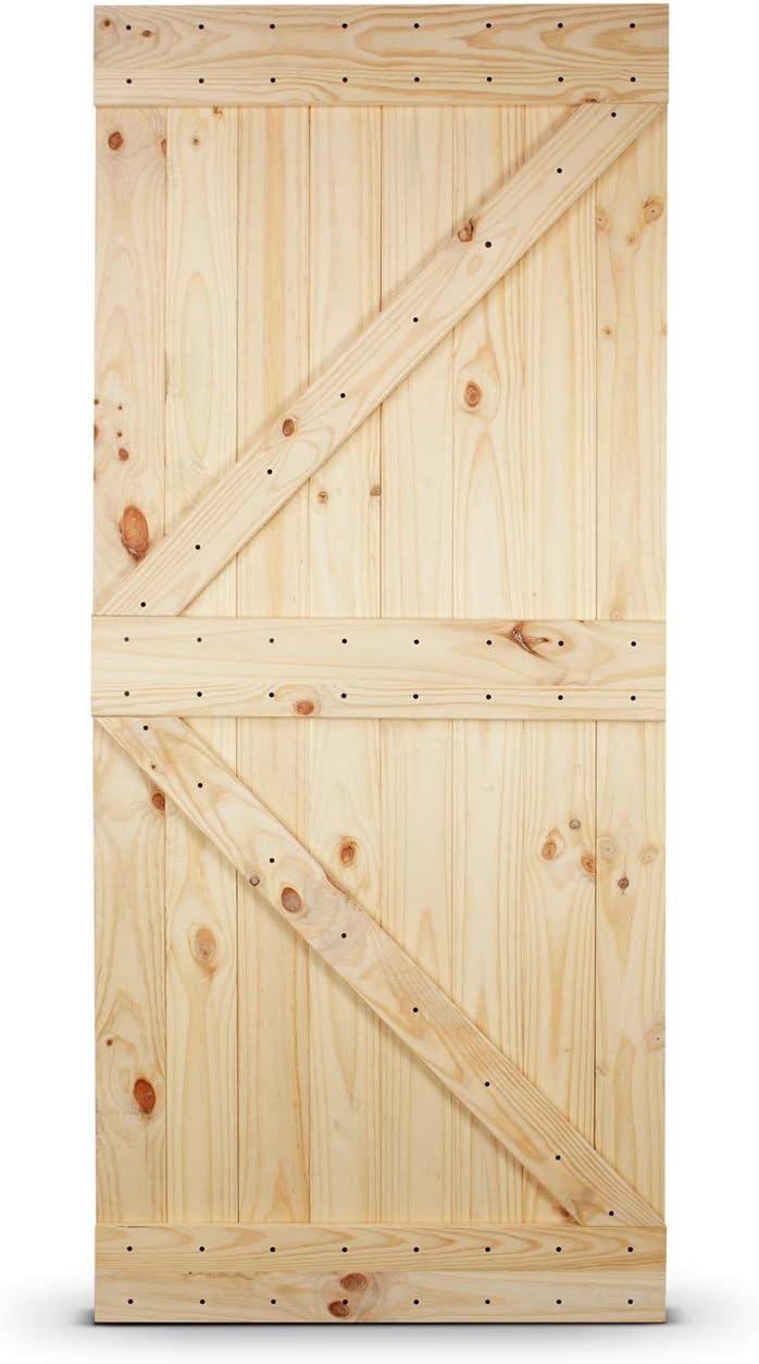 3 ft x 7 ft Unfinished Knotty Pine Wood Left Arrow Design Sliding Single Barn Door Pre Drilled BELLEZE 36in.x 84in Natural