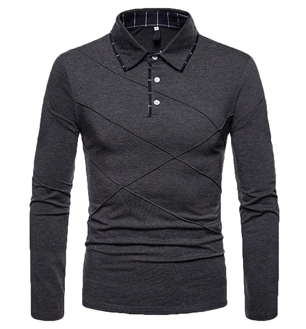 GAGA Mens Long-Sleeved Polo Shirts Blouses Casual Loose Fit Slim Blouse