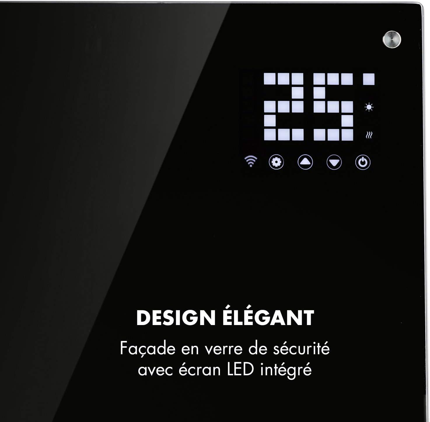 Affichage LED int/égr/é Radiateur /à Convection s/écurit/é r/ésistant aux /éclaboussures 2 r/églages de Chaleur Blanc 1000 et 2000W Minuterie KLARSTEIN Bornholm Smart Verrouillage Parental Mode ECO