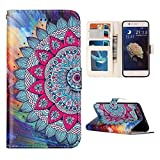 Huawei P10 Flip Case, Huawei P10 Leather Wallet Case, Rosa Schleife PU Leather Mandala Painted Embossed Flip Folio Bumper Phone Case Protective Shell Skin Cases Covers for Huawei P10 (5.1')