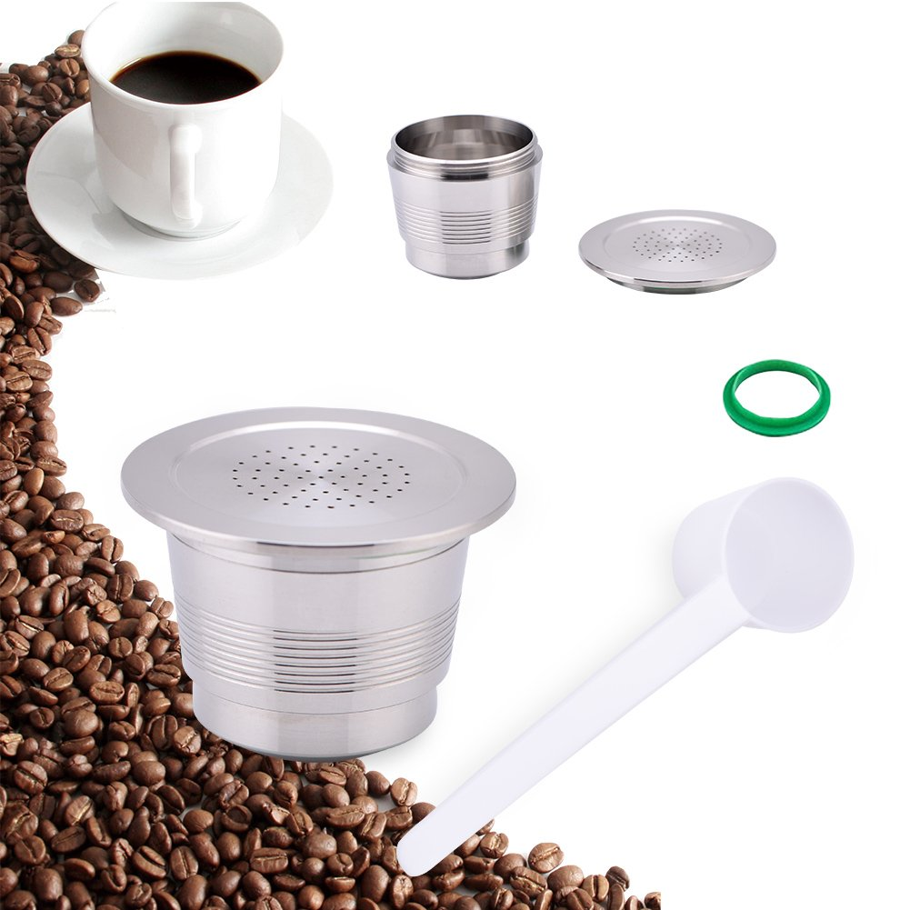 Stainless Steel Metal Refillable Coffee Capsules Pod Compatible for Nespresso Machine Reusable Capsule Yosoo