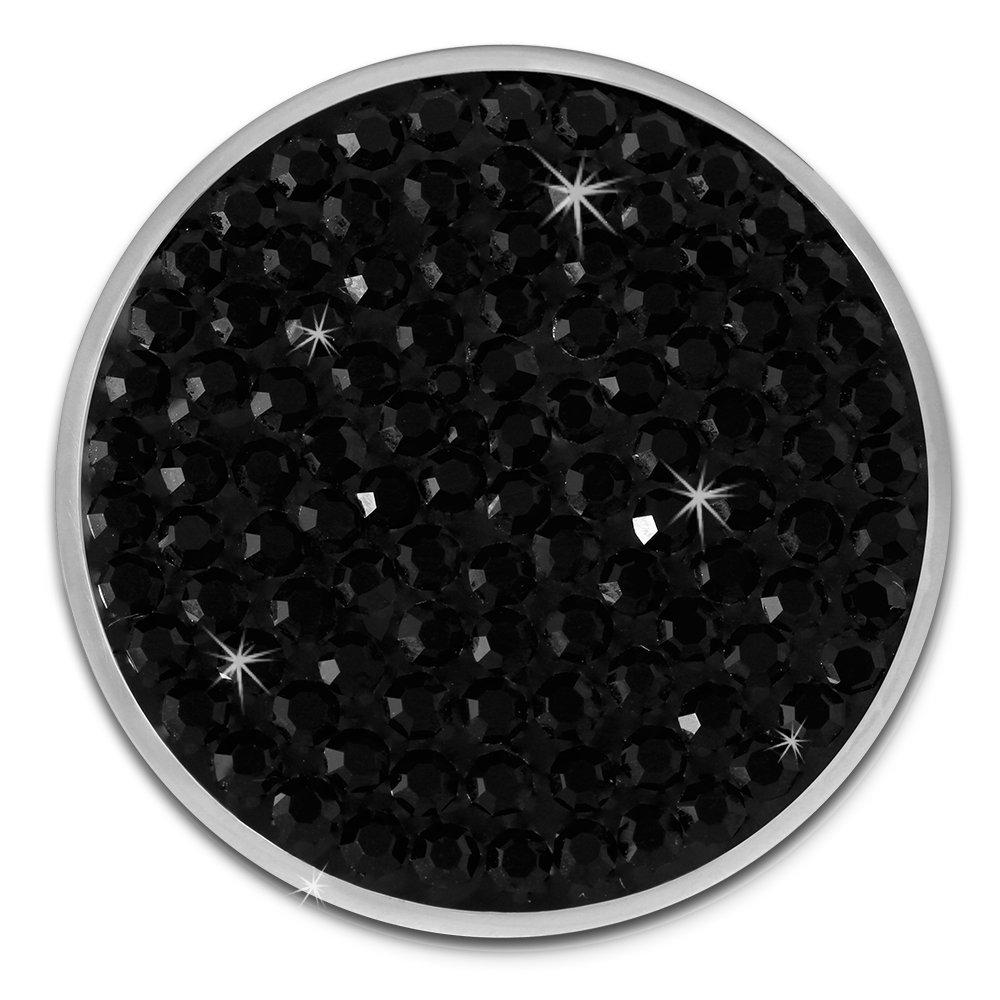 Amello bijoux en acier inoxydable - Amello pendentif en acier inoxydable - Coin avec zirconia noir pour Coin Keeper - pendentif pour colliers - ESC301S