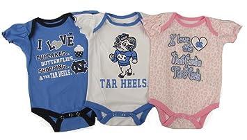 Amazon Com North Carolina Tar Heels Baby Girl 3 Pack Cupcake