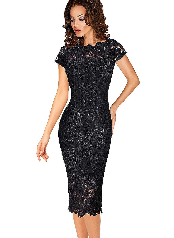 Black VFSHOW Womens Elegant Floral Lace Cocktail Party Slim Bodycon Sheath Dress