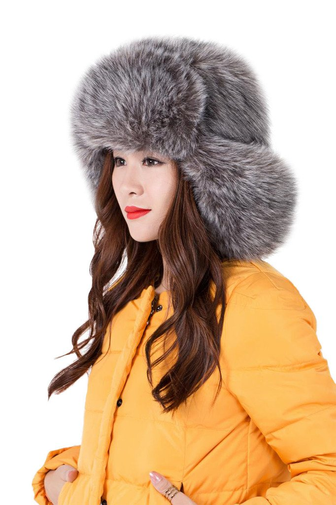 Tortor 1Bacha Women's Russian cossack Style Faux Fur Winter Ushanka Hat Grey