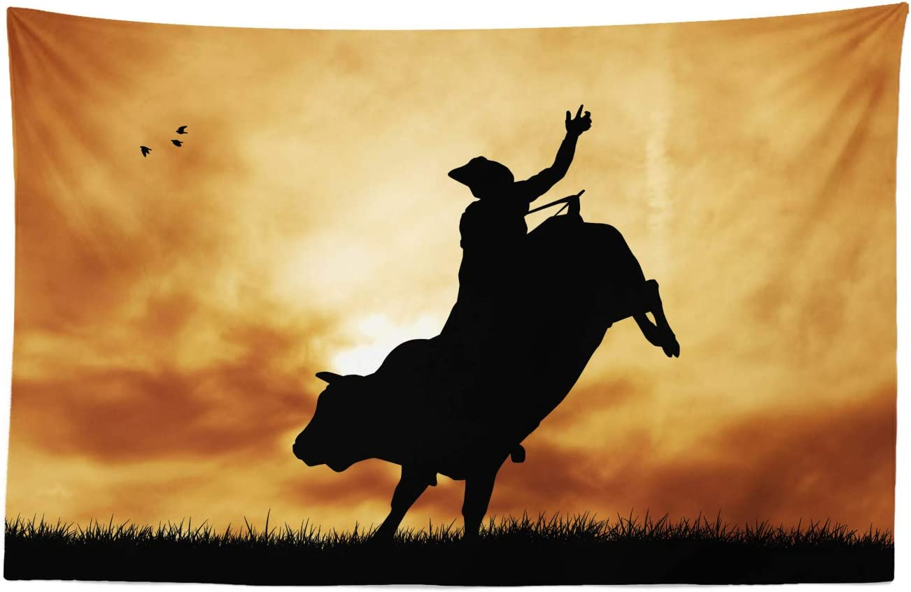 """Lunarable Western Tapestry, Bull Rider Silhouette at Sunset Dramatic Sky Rural Countryside Landscape Rodeo, Fabric Wall Hanging Decor for Bedroom Living Room Dorm, 45"""" X 30"""", Amber Black"""