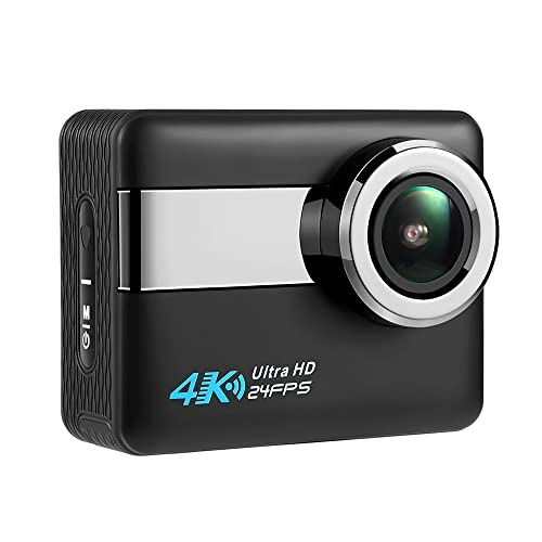 """Axeto N6 4K WiFi Action Camera, 2.31"""" LCD Touchscreen 20MP Sony Image Sensor, 170° Wide-Angle Waterproof Sports Camera, with Remote & 2 Batteries Included in Accessories Kit"""