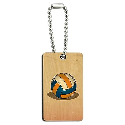 Voleibol de Playa carcasa de madera rectangular llavero ...
