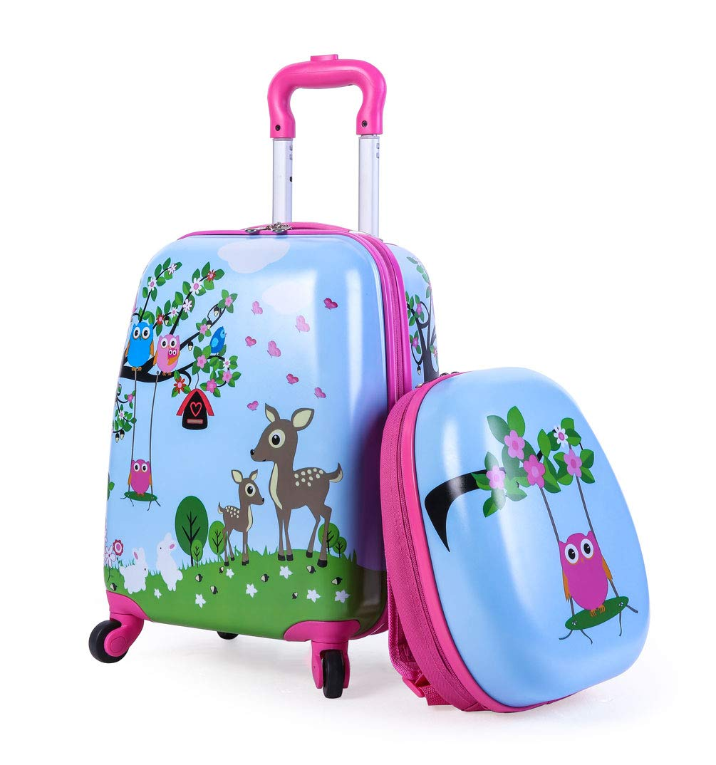 Deer Kids Carry On Luggage Set with Spinner Wheels Toddler Travel Suitcase with Backpack for Girls