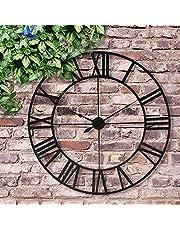 Large Outdoor Garden Wall Clock Big Roman Numerals Giant Open Face Metal - Dia 78cm - W/Black