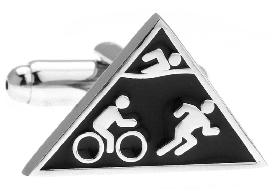 MRCUFF Triathlon Triathlete Swim Bike Run Pair Cufflinks in a Presentation Gift Box & Polishing Cloth by MRCUFF (Image #1)