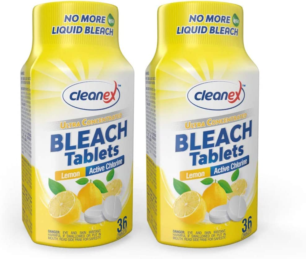 Cleanex Bleach Tablets, New Advanced Formula Ultra Concentrated Water-Soluble Bleach Tablets for Laundry and Multipurpose Cleaning 36 Tablets No Phosphate NO More Liquid Bleach! (Lemon 2 Packs)