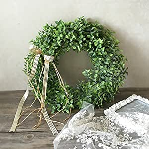 Lanlan Artificial Green Leaf Wreath with Bow Door Hanging Wall Window Decoration Holiday Festival Wedding Decor,Three Style can Choose,40cm,Style A
