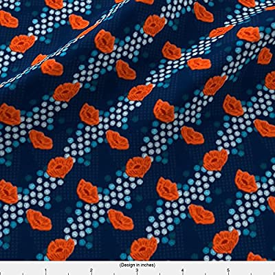 Botanical Fabric Little Sashiko Garden by Landpenguin Printed on by the Yard by Spoonflower