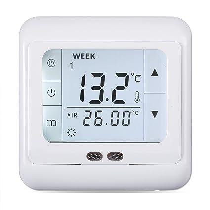 WELQUIC Termostato Digital Calefaccion de la Pantalla Táctil LCD con Retroiluminación Termostato para calefacción por Suelo
