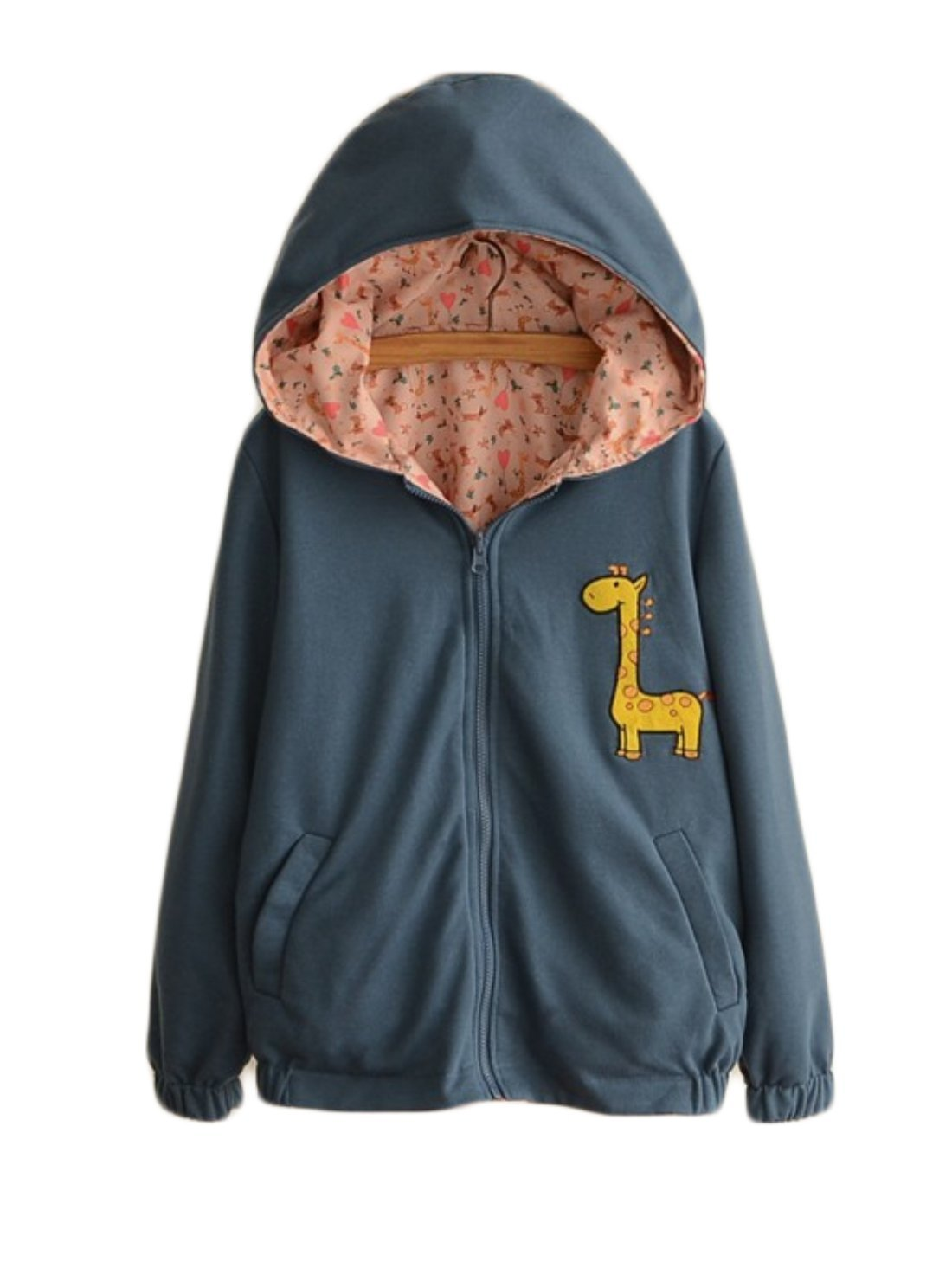 Aza Boutique Girl's Deer Embroidery College Style Reversible Zipper Hooded Coat