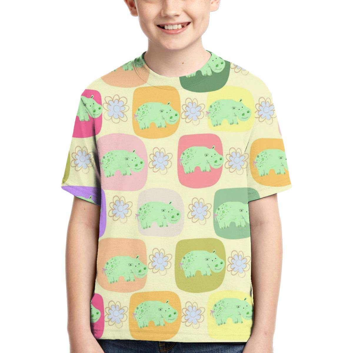 HHTZTCL Likely Cartoon Hippo Kids Print Graphic Tee Short Sleeve T-Shirt
