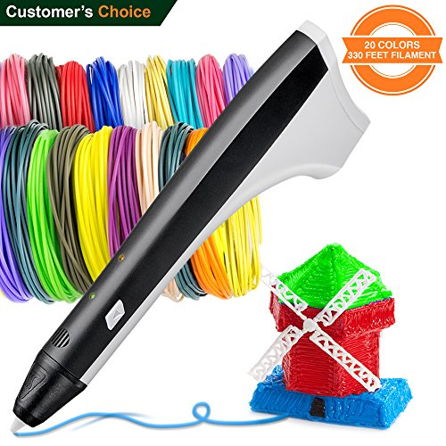 3D Pen Set with 330 feet PCL PLA Filament Refills  3D Pens for Kids Teens Adults  3D Doodler Pen for Girls Boys  3D Printing Printer Pen Case  3Doodler Create Black