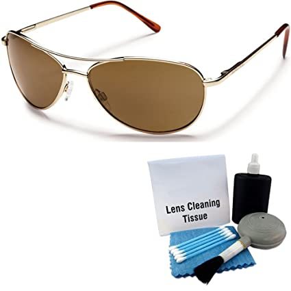 758fa34f034 Amazon.com  Suncloud Patrol Polarized Sunglasses  Gold Frame Brown Polarized  Polycarbonate Lenses with Lens Cleaning Kit  Sports   Outdoors