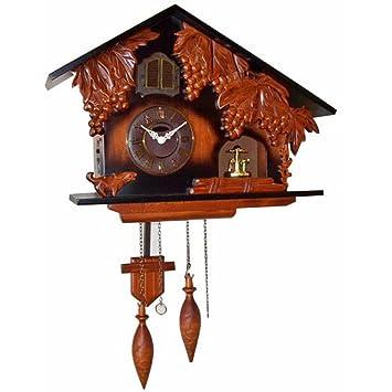 XKS Reloj De Cuco De Madera - Etapa Giratoria - Reloj De Pared Con Control De La Luz - Tallado A Mano - Reloj De Pared De Madera De Haya: Amazon.es: Hogar