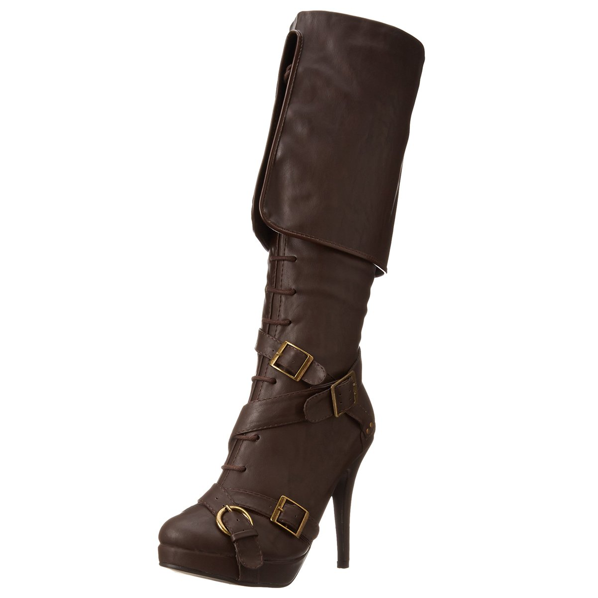 Women's Brown Knee-High Fold Over Strappy Pirate Boots - DeluxeAdultCostumes.com