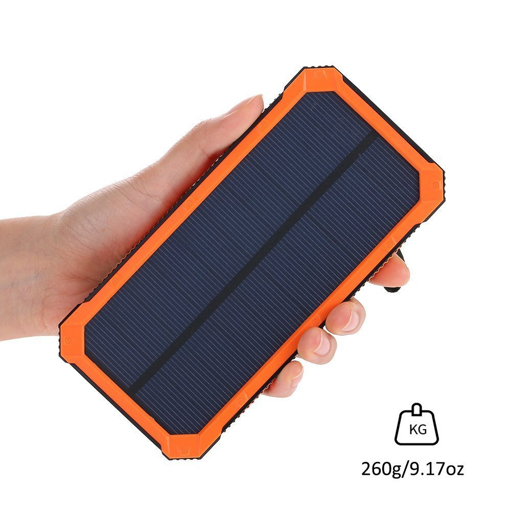 Solar Charger Friengood 15000mAh Portable Solar Power Bank Dual USB Ports Solar Phone Battery Charger with 6 LED Flashlight Light for iPhone, iPad, Samsung and More (Orange) by Friengood (Image #3)
