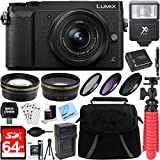 Panasonic LUMIX GX85 4K Black Mirrorless Interchangeable Lens Camera w/12-32mm Lens + 64GB SDXC Memory Card + Gadget Bag + 37mm Filter Kit + Wide Angle + Telephoto Lens+Card Reader+Mini Tripod & More