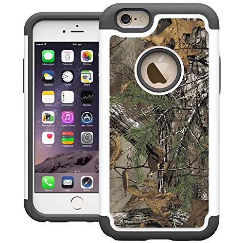 UrSpeedtekLive iPhone 6 Case, 6s Case, iPhone 6s Cases [Shock Absorption] Dual Layer Heavy Duty Protective Silicone Plastic Cover Case for iPhone 6/6s - Camo Tree (Iphone 4 Realtree Otterbox Case)