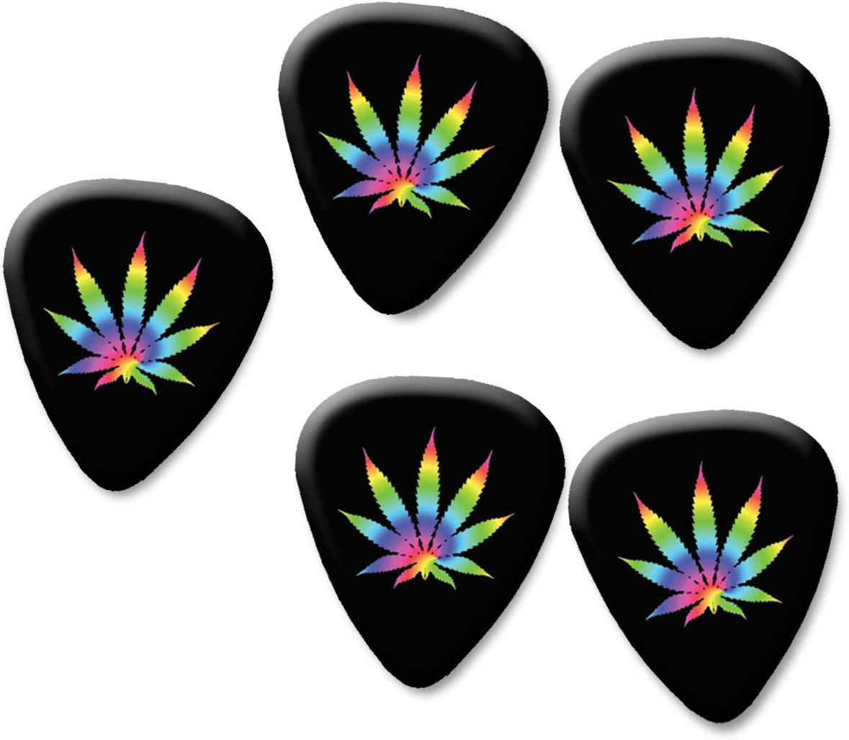 Juego de 5 púas para guitarra con estampado de marihuana de hierba de cannabis de 0,71 mm