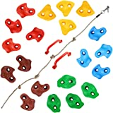 TOPNEW 20 Rock Climbing Holds for Kids, Adult Climbing Rock Wall Grips with 2 Handles, 5.9Ft Knotted Rope for Indoor and Outd