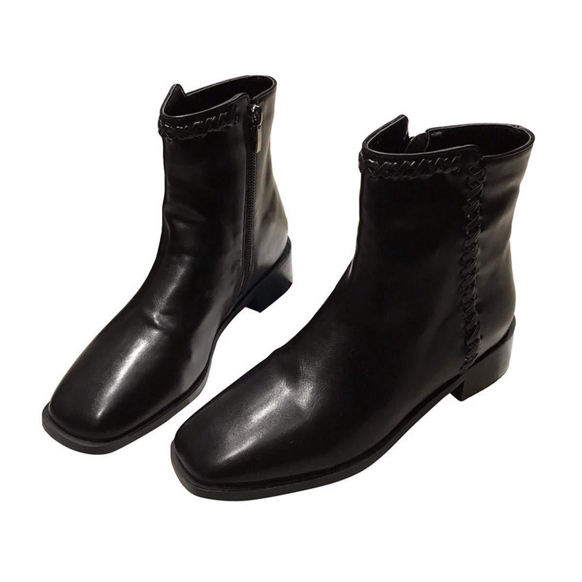 LBTSQ Fashion Damenschuhe Mode Seite Reißverschluss Heel 3Cm - Lokomotiv - Stiefel Square Kopf Flachem Absatz Stiefel Winter Samt Ritter - Flut