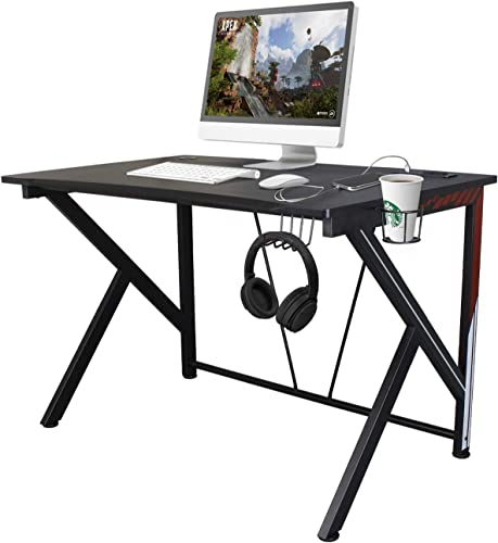 K-Shaped Gaming Desk Workstation 45.7 Black Carbonized Pattern with USB Charging Port,Headphone Hook and Cup Holder Gaming Table