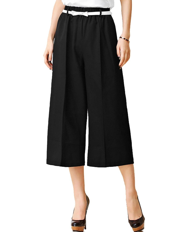Femirah Women's Spring Summer Casual Cropped Trousers High Waist Wide Leg Pants