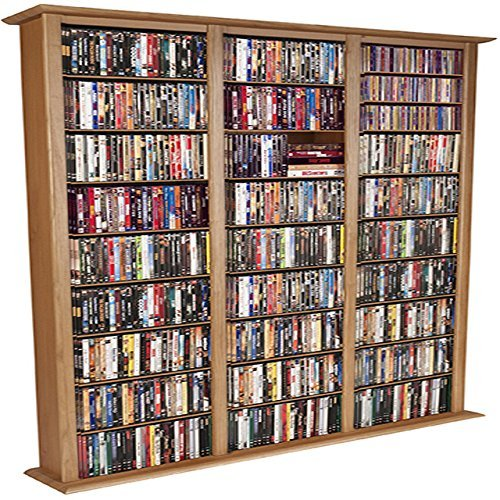 Media Storage Tower-Tall Triple Oak - Width Wall Cherry Triple