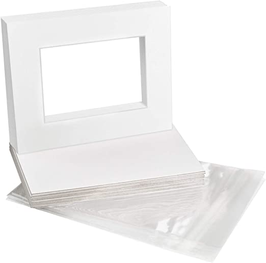 Pack of 25 Backers /& 25 Clear Sleeve Bags US Art Supply Art Mats Acid-Free Pre-Cut 11x14 Black Picture Mat Matte Sets Includes a Pack of 25 White Core Bevel Cut Mattes for 8x10 Photos