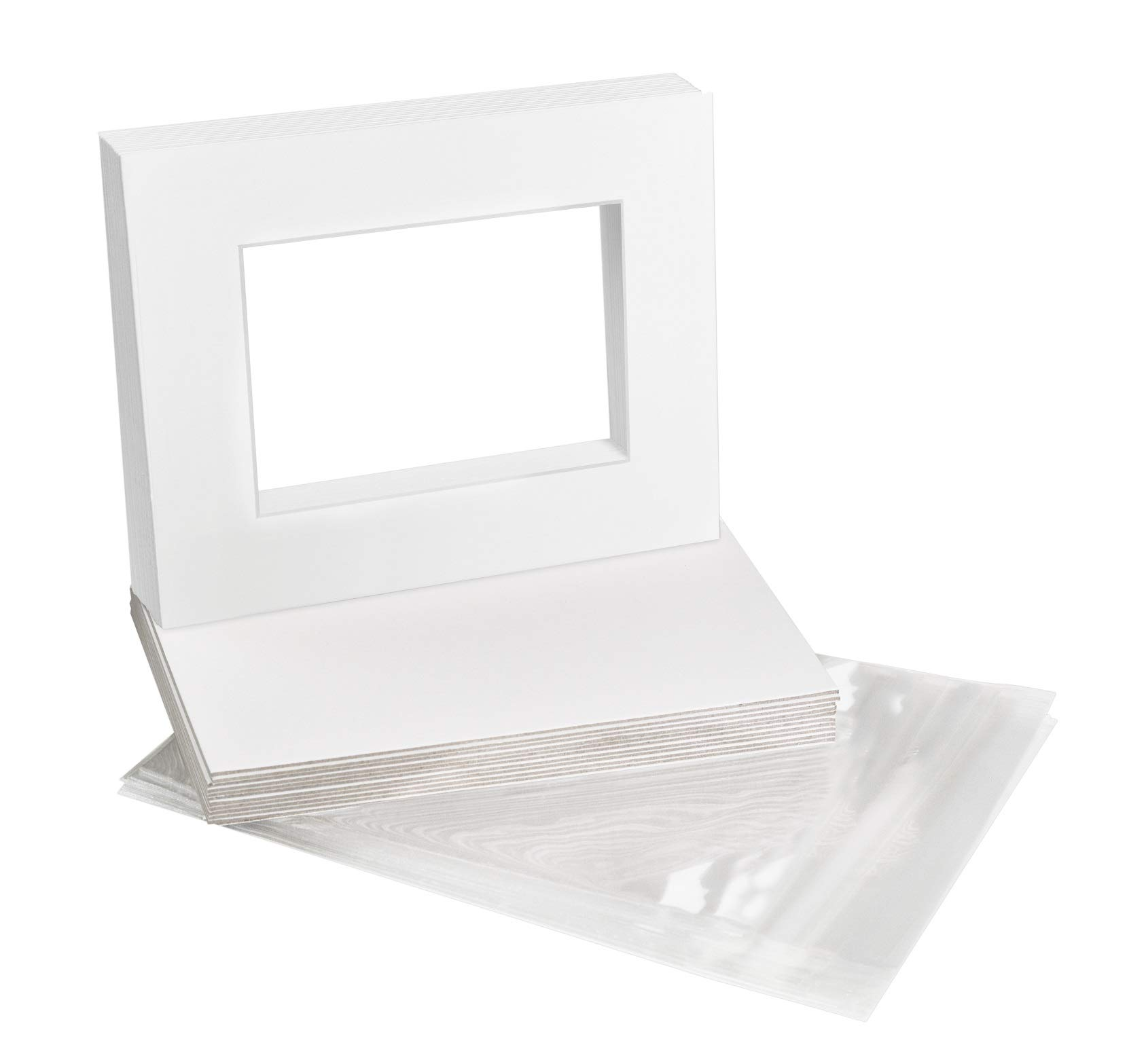 Golden State Art, Acid-Free Pre-Cut 8x10 White Picture Mat Sets. Includes Pack of 10 White Core Bevel Cut Mats for 5x7 Photos, 10 Backing Boards and 10 Crystal Clear Plastic Sleeves Bags by Golden State Art